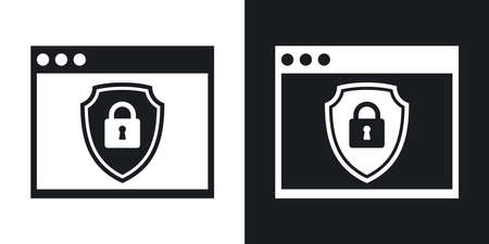protective shield: Vector Program window icon with a protective shield symbol. Two-tone version of simple icon on black and white background