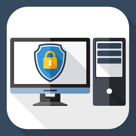 protective shield: Vector Desktop computer icon with a protective shield symbol on a monitor. Simple icon in flat style with long shadow Illustration