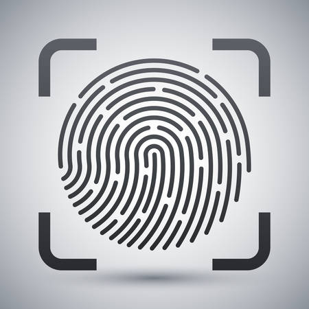 dactylogram: Vector Fingerprint Scanning icon. Fingerprint Scanning simple icon on a light gray background