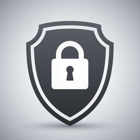 protective shield: Vector Protective shield icon with the image of a padlock. Security concept simple icon on a light gray background