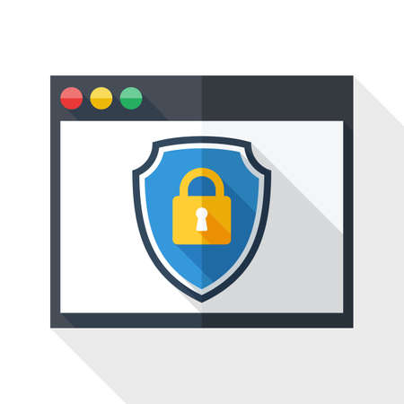 protective shield: Vector Program window icon with a protective shield symbol. Simple icon in flat style with long shadow on white background