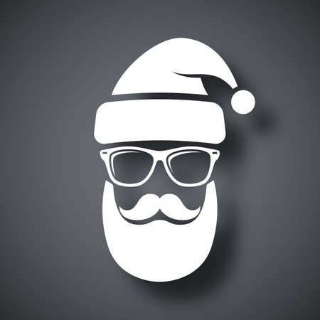 funky: Silhouette of Santa Claus with a cool beard, mustache and glasses on a dark gray background