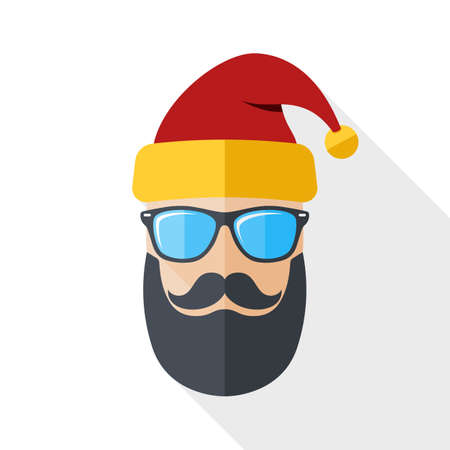 shadow silhouette: Silhouette of Santa Claus with a cool beard, mustache and glasses in flat style with long shadow on white background