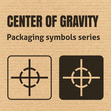 corrugate: CENTER OF GRAVITY packaging symbol on a corrugated cardboard background. For use on cardboard boxes, packages and parcels.