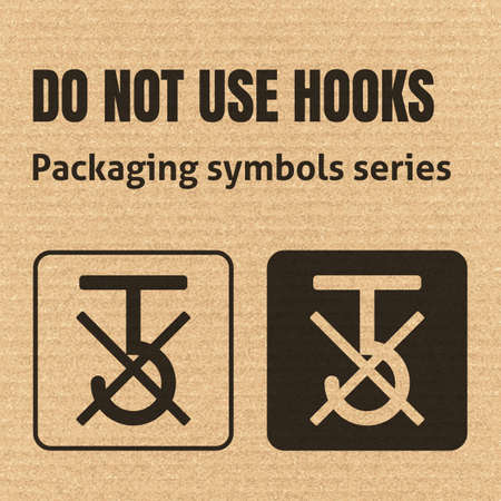 no symbol: DO NOT USE HOOKS or USE NO HOOKS packaging symbol on a corrugated cardboard background. For use on cardboard boxes, packages and parcels.