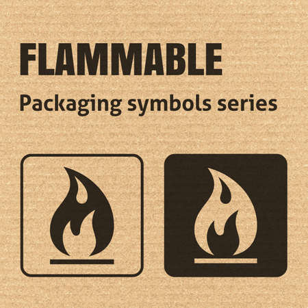 flammable: FLAMMABLE packaging symbol on a corrugated cardboard background. For use on cardboard boxes, packages and parcels.