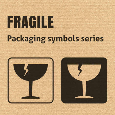 breakable: FRAGILE or Breakable Material packaging symbol on a corrugated cardboard background. For use on cardboard boxes, packages and parcels. Illustration