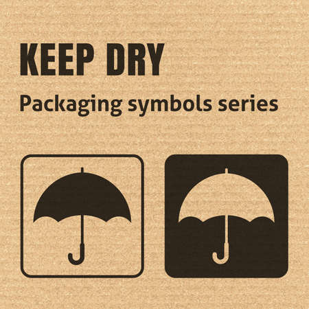 KEEP DRY packaging symbol on a corrugated cardboard background. For use on cardboard boxes, packages and parcels.