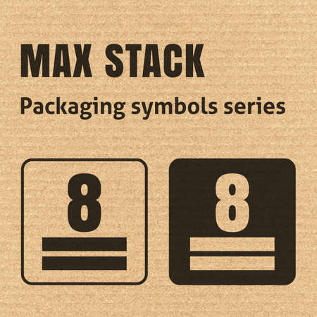 MAX STACK or WEIGHT STACKING LIMITATION packaging symbol on a corrugated cardboard background. For use on cardboard boxes, packages and parcels.