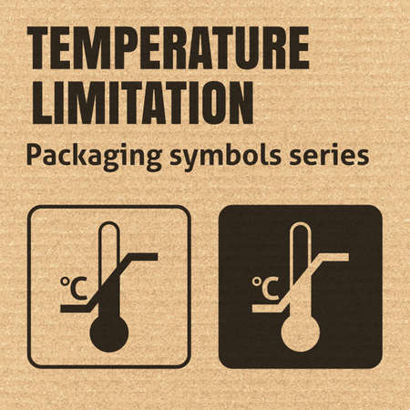 limitation: TEMPERATURE LIMITATION packaging symbol on a corrugated cardboard background. For use on cardboard boxes, packages and parcels.