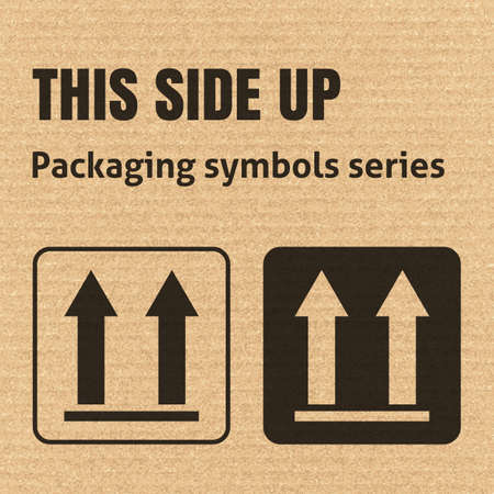 this: THIS SIDE UP packaging symbol on a corrugated cardboard background. For use on cardboard boxes, packages and parcels.
