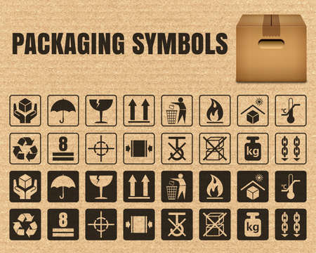 Packaging symbols on a cardboard background including Fragile, Handle with care, Keep dry, This side up, Flammable, Recycled, Package weight, Do not litter, Max stack, Clamp and Sling here, and others