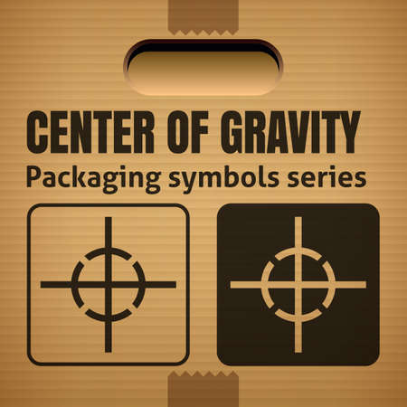 corrugate: CENTER OF GRAVITY packaging symbol on a corrugated cardboard box. For use on cardboard boxes, packages and parcels. Illustration