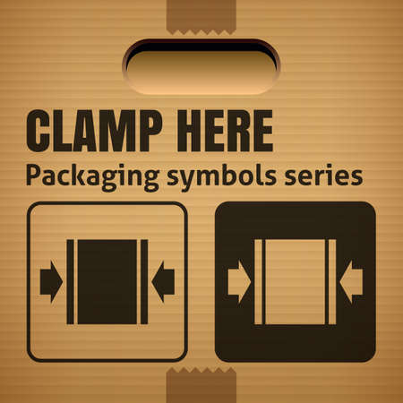corrugate: CLAMP HERE packaging symbol on a corrugated cardboard box. For use on cardboard boxes, packages and parcels. Illustration