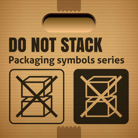 stackable: DO NOT STACK packaging symbol on a corrugated cardboard box. For use on cardboard boxes, packages and parcels.
