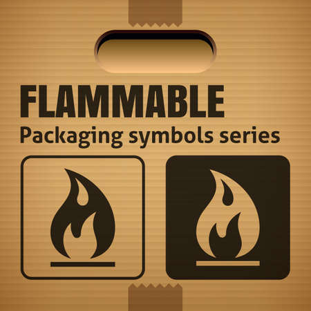 corrugate: FLAMMABLE packaging symbol on a corrugated cardboard box. For use on cardboard boxes, packages and parcels. Illustration