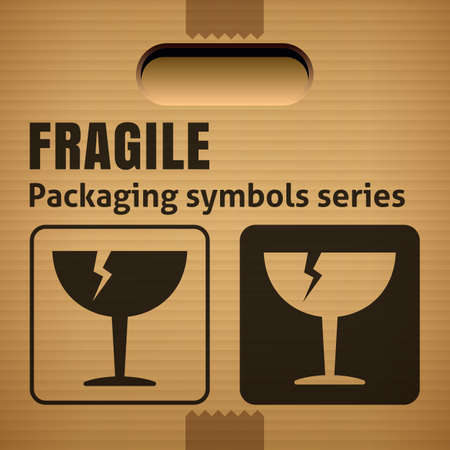 breakable: FRAGILE or Breakable Material packaging symbol on a corrugated cardboard box. For use on cardboard boxes, packages and parcels.