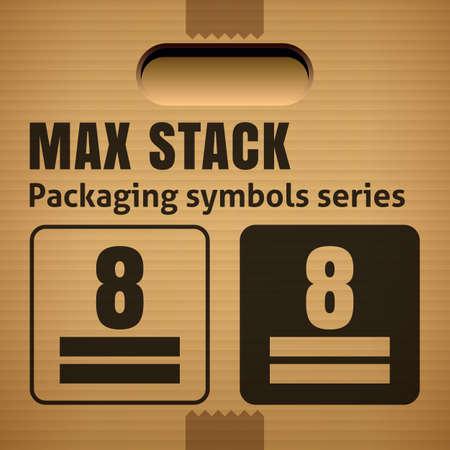 段ボール箱に梱包作業の記号を最大スタックまたは重量スタック制限。段ボール箱、パッケージおよび区画で使用します。
