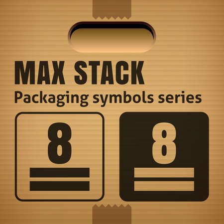 limitation: MAX STACK or WEIGHT STACKING LIMITATION packaging symbol on a corrugated cardboard box. For use on cardboard boxes, packages and parcels.