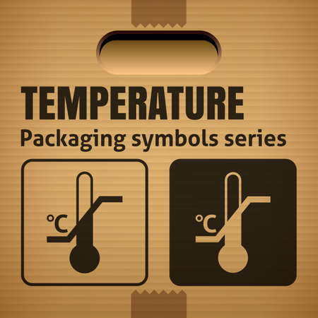 limitation: TEMPERATURE LIMITATION packaging symbol on a corrugated cardboard box. For use on cardboard boxes, packages and parcels.