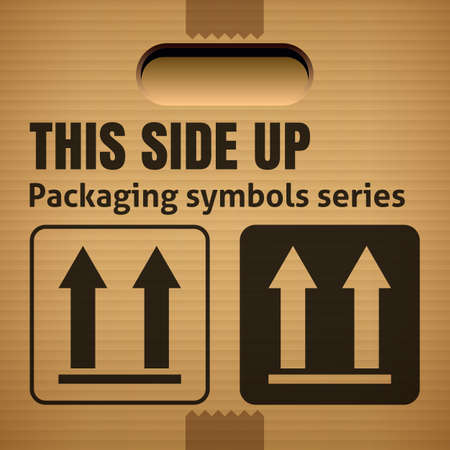 this side up: THIS SIDE UP packaging symbol on a corrugated cardboard box. For use on cardboard boxes, packages and parcels. Illustration