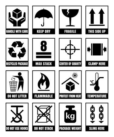 Packaging signs isolated on white background such as FRAGILE, HANDLE WITH CARE, KEEP DRY, THIS SIDE UP, FLAMMABLE, RECYCLED, PACKAGE WEIGHT, DO NOT LITTER, MAX STACK, CLAMP and SLING HERE, and others