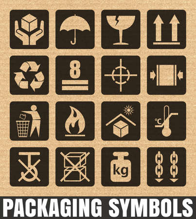 this side up: Packaging signs on a cardboard background including Fragile, Handle with care, Keep dry, This side up, Flammable, Recycled, Package weight, Do not litter, Max stack, Clamp and Sling here, and others Illustration