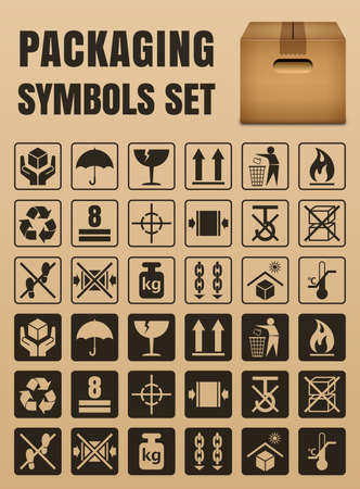 breakable: Packaging symbols set including Fragile, Handle with care, Keep dry, This side up, Flammable, Recycled, Package weight, Do not litter, Max stack, Clamp and Sling here, Protect from heat and others Illustration