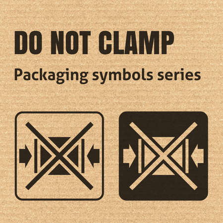 corrugate: DO NOT CLAMP packaging symbol on a corrugated cardboard background. For use on cardboard boxes, packages and parcels. EPS10 vector illustration