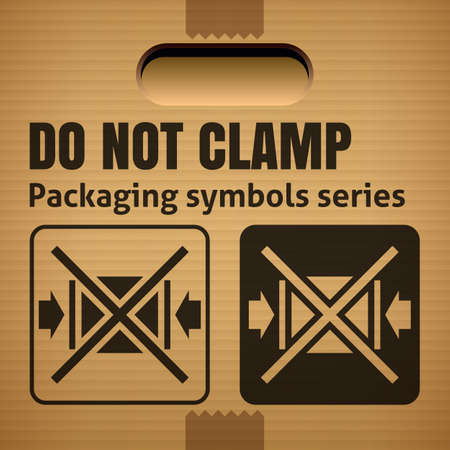 corrugate: DO NOT CLAMP packaging symbol on a corrugated cardboard box. For use on cardboard boxes, packages and parcels. Vector illustration