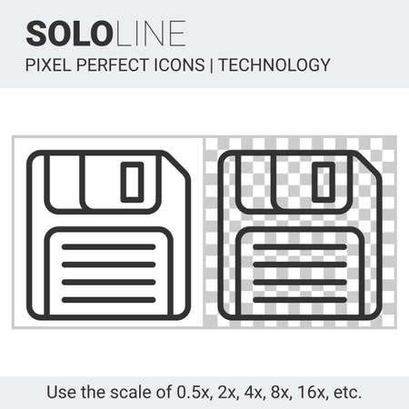 save as: Pixel perfect solo line floppy disk icon on white and transparent background for responsive web or product design. Designed for use by technology companies and startups in their products Illustration