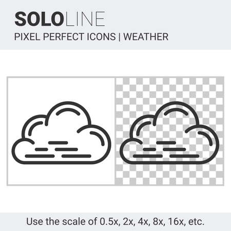 nebulosity: Pixel perfect cloud icon in thin line style on white and transparent background for responsive web or product design. It can be use in weather forecast apps or widgets. Solo line collection