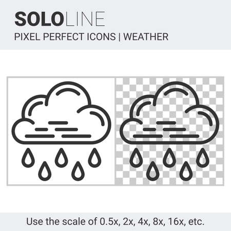 nebulosity: Pixel perfect heavy rain icon in thin line style on white and transparent background for responsive web or product design. It can be use in weather forecast apps or widgets. Solo line collection