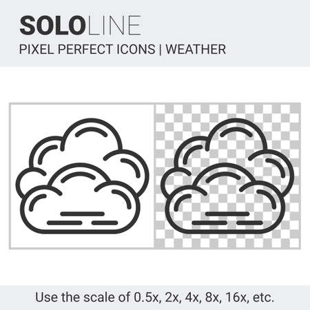 nebulosity: Pixel perfect overcast icon in thin line style on white and transparent background for responsive web or product design. It can be use in weather forecast apps or widgets. Solo line collection
