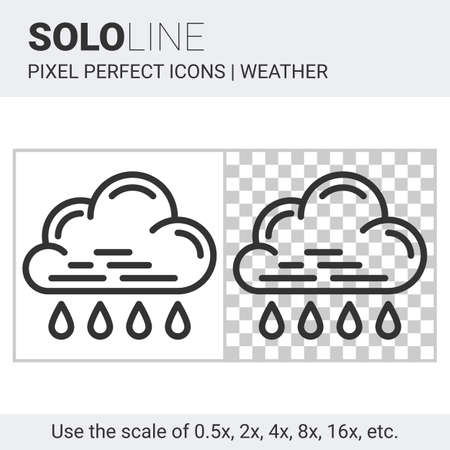 nebulosity: Pixel perfect rain icon in thin line style on white and transparent background for responsive web or product design. It can be use in weather forecast apps or widgets. Solo line collection