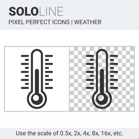 temp: Pixel perfect thermometer icon in thin line style on white and transparent background for responsive web or product design. It can be use in weather forecast apps or widgets. Solo line collection