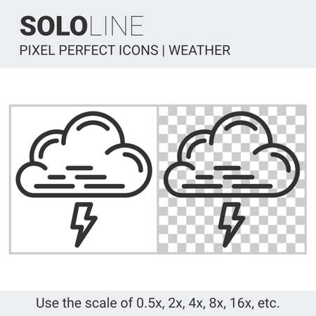 nebulosity: Pixel perfect thunderstorm icon in thin line style on white and transparent background for responsive web or product design. It can be use in weather forecast apps or widgets. Solo line collection