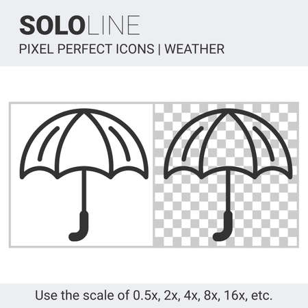 wetness: Pixel perfect umbrella icon in thin line style on white and transparent background for responsive web or product design. It can be use in weather forecast apps or widgets. Solo line collection