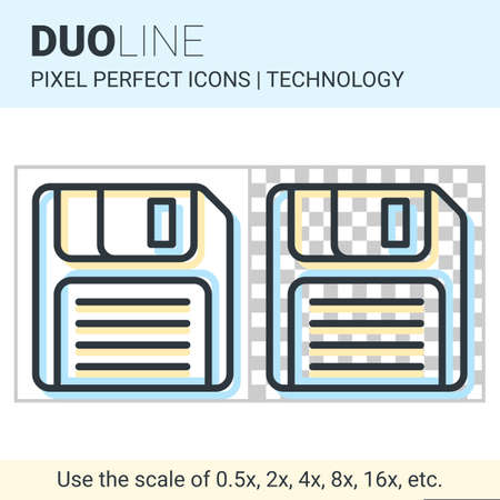 Pixel perfect duo line floppy disk icon on white and transparent background for responsive web or product design. Designed for use by technology companies and startups in their products Illustration