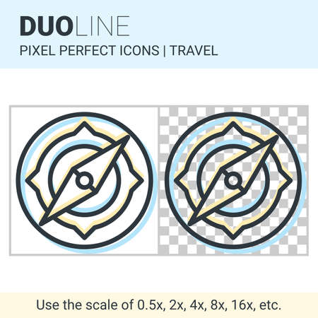 duo: Pixel perfect duo line compass icon on white and transparent background for responsive web or product design. Can be used in web sites and apps for travel, maps and navigation