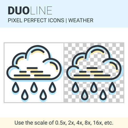 nebulosity: Pixel perfect duo line heavy rain icon on white and transparent background for responsive web or product design. Can be used in weather forecast apps or widgets