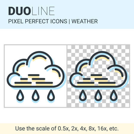 rain weather: Pixel perfect duo line light rain icon on white and transparent background for responsive web or product design. Can be used in weather forecast apps or widgets