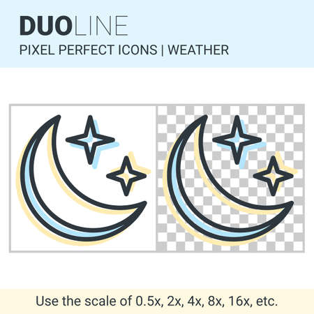 duo: Pixel perfect duo line moon in the starry sky icon on white and transparent background for responsive web or product design. Can be used in weather forecast apps or widgets