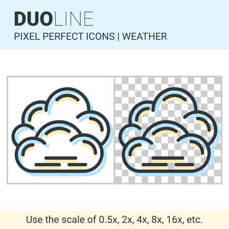 nebulosity: Pixel perfect duo line overcast icon on white and transparent background for responsive web or product design. Can be used in weather forecast apps or widgets Illustration