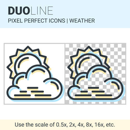 partly: Pixel perfect duo line partly cloudy icon on white and transparent background for responsive web or product design. Can be used in weather forecast apps or widgets