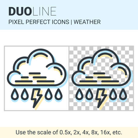 duo: Pixel perfect duo line rain with thunderstorm icon on white and transparent background for responsive web or product design. Can be used in weather forecast apps or widgets