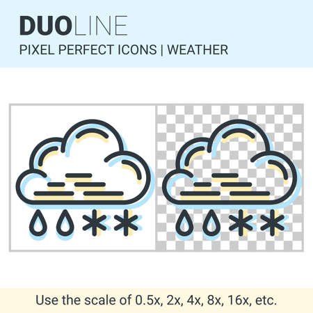 coldness: Pixel perfect duo line sleet icon on white and transparent background for responsive web or product design. Can be used in weather forecast apps or widgets