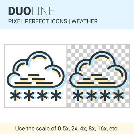 coldness: Pixel perfect duo line snowfall icon on white and transparent background for responsive web or product design. Can be used in weather forecast apps or widgets Illustration