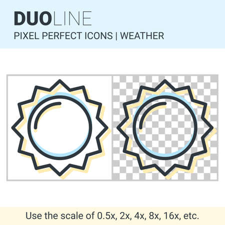 duo: Pixel perfect duo line sun icon on white and transparent background for responsive web or product design. Can be used in weather forecast apps or widgets