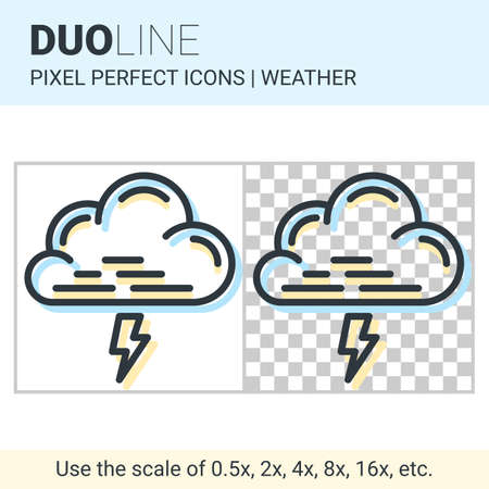 nebulosity: Pixel perfect duo line thunderstorm icon on white and transparent background for responsive web or product design. Can be used in weather forecast apps or widgets